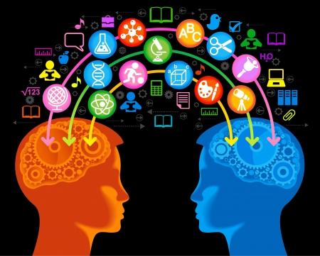 COGNICION: el concepto de educación de la generación de conocimiento niños.El Vectores