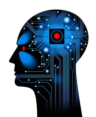 inteligencia: Head.figure humano el concepto de la inteligencia artificial