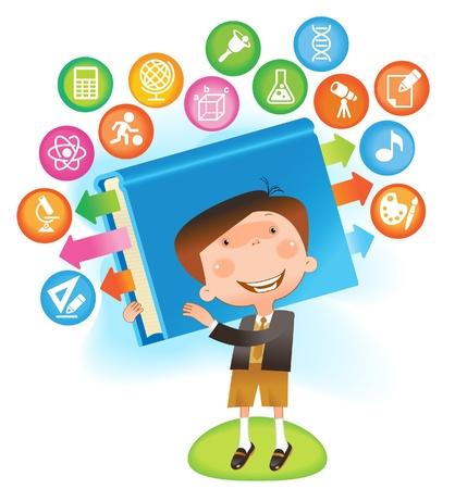 cognicion: niño con book.THE ESCUELA DE CIENCIAS Vectores