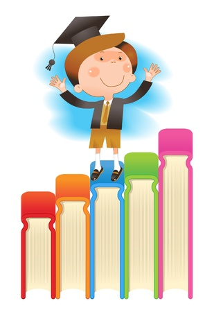 jongen met books.THE SCHOOL VAN WETENSCHAPPEN Vector Illustratie