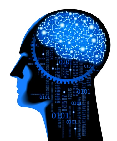 denkender mensch: das Konzept der menschlichen thinking.Abstract Wissenschaft Hintergrund mit Hirn Illustration