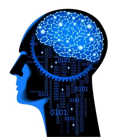 person thinking: el concepto de fondo de la ciencia humana thinking.Abstract con el cerebro