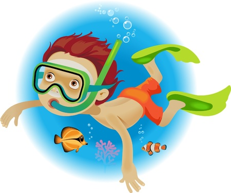A little boy swims in a mask and flippers under the water with fish