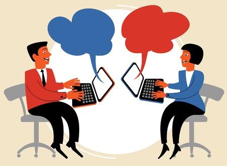 mail man: la gente habla sobre el concepto de comunicaci�n internet.figure