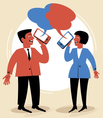 people talk through mobile phones.figure Communication concept Stock Vector - 12186045
