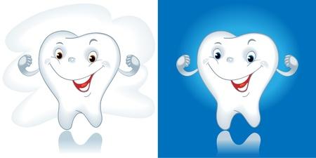 diente caricatura: diente de la historieta. Diente sano. Dibujos animados