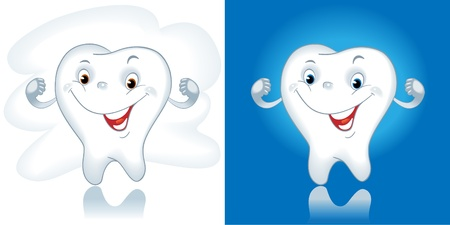 tooth cartoon. Healthy tooth. Cartoon Vector