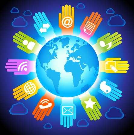social network, communication in the global computer networks Illustration