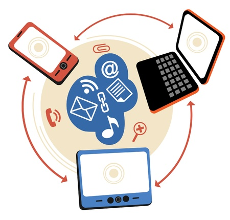 logo informatique: Connection.communication tablette portable de téléphone dans les réseaux informatiques mondiaux.