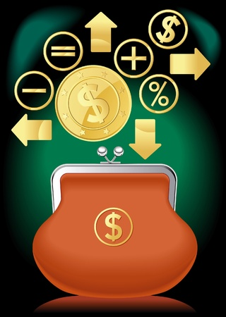 purse banking dollar.financial operations Illustration