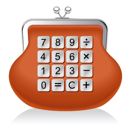 change purse: purse calculator.financial operations Illustration