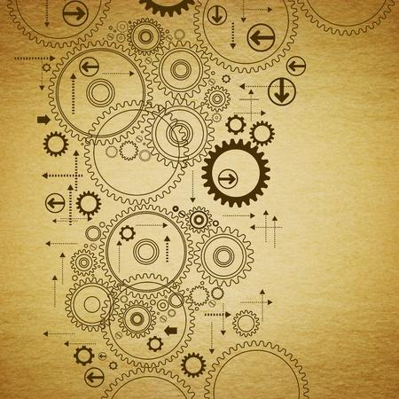 tandwielen: de versnellingen worden getekend op oude paper.antique tekening
