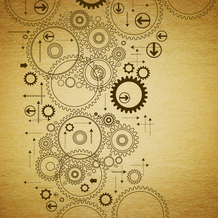 the gears are drawn on old paper.antique drawing Stock Photo