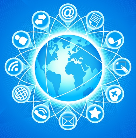 social issues: Social-Media-Globe Lo sviluppo delle comunicazioni globali Vettoriali