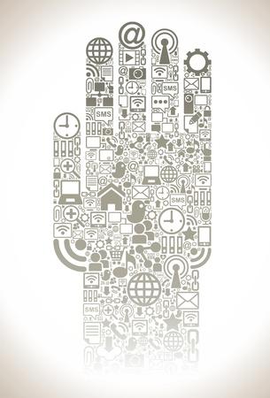 social media, communication in the global computer networks Illustration