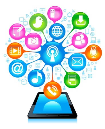 social network, communication in the global computer networks Stock Vector - 12491998