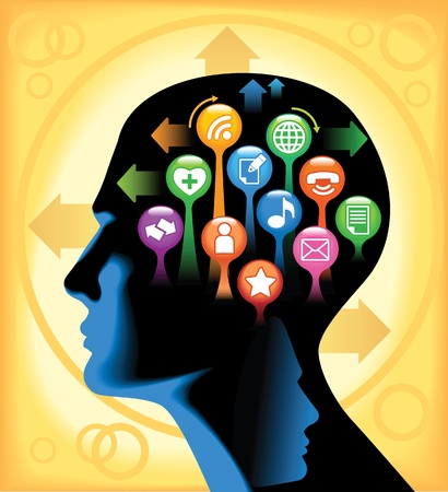 Social-Media-Brain The development of global communications Vector