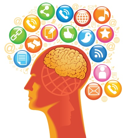 Sociaal-Media-Head De ontwikkeling van wereldwijde communicatie