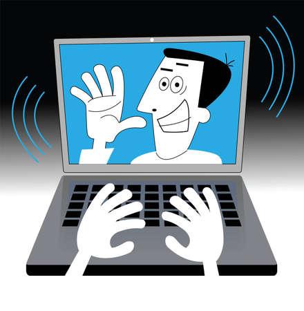 communication cartoon: person communication  Cartoon communication concept