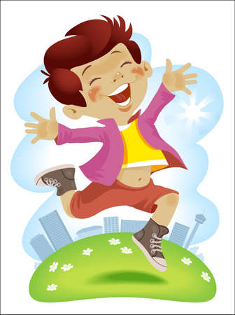 skipping: Little boy, smiling, jumps, on the lawn, in the summer of