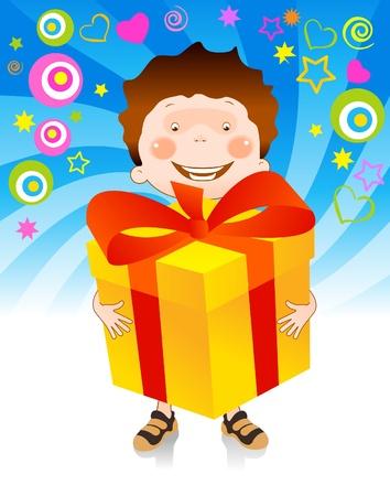 generosity: niño feliz tiene en sus manos un gran regalo le ha dado Vectores