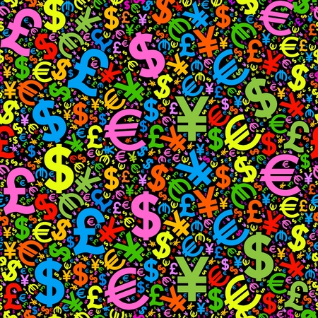 seamless background characters of world currencies Vector