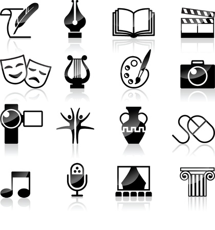 comedy mask: Vector Art Culture and creativity black   white set
