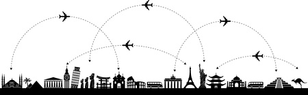 landmarks: Black and white vector background with a trip with icons Illustration