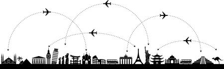 voyage: Vecteur de fond en noir et blanc avec un voyage avec des icônes