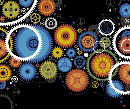 background consisting of bright gears and arrows the concept of motion Stock Vector - 17807029