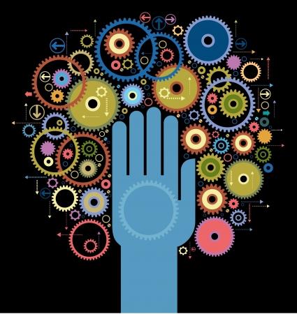 tornitura: il concetto di movimento della mano umana avvia il meccanismo Vettoriali