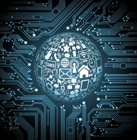 abstract vector background with high tech circuit board communication in the global computer networks