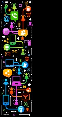 vector background with icons on internet  social network, communication in the global computer networks