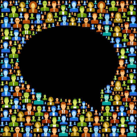 the concept of communication between people  vector  background consists of many icons of modern humans