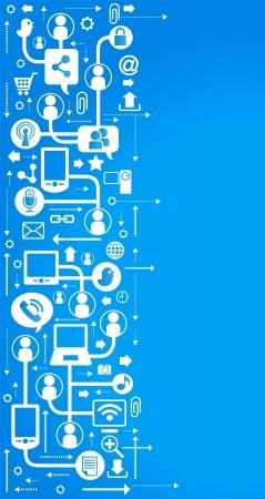 interaccion social: vector de fondo con los iconos en internet. red social, la comunicaci�n en las redes inform�ticas mundiales Vectores