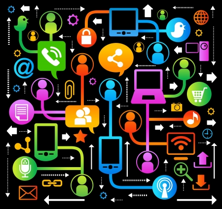 chat room: vector background with icons on internet. social network, communication in the global computer networks