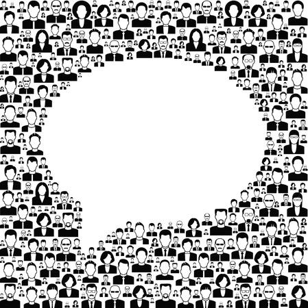 multitud: Vector de fondo blanco y negro se compone de muchos iconos de los humanos modernos. concepto de b�squeda.