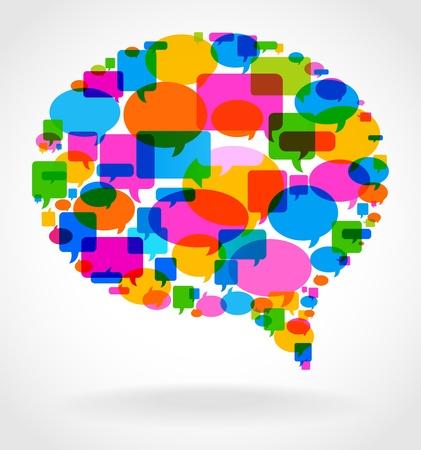 dialogo: el concepto de discurso burbuja comunicaci�n principal se compone de bocadillos peque�os y brillantes Vectores