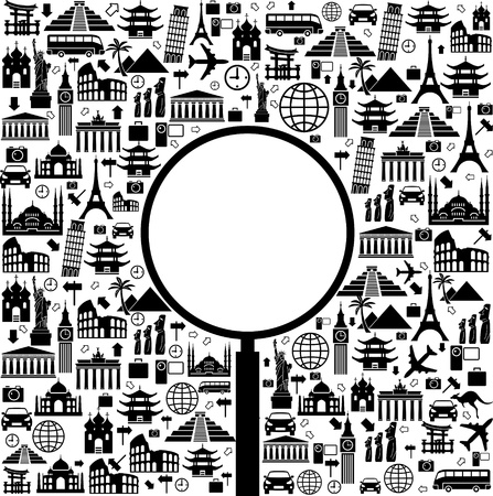 international landmark: Black and white vector background with a trip with icons and place for your text