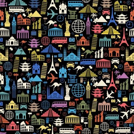 tourismus icon: Nahtlose Vektor Wallpaper oder Hintergrund Reisen, Urlaub, ber�hmte Pl�tze