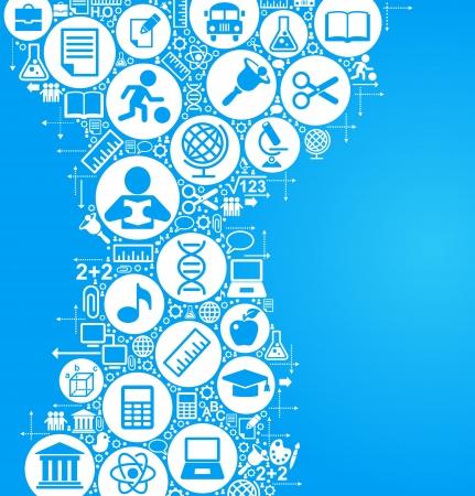study icon: vector de fondo de los muchos iconos en el tema de la educaci�n