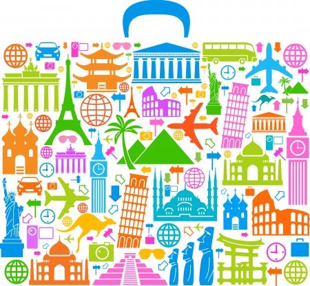 het concept van reizen rond de wereld beroemde internationale oriëntatiepunten Vector Illustratie