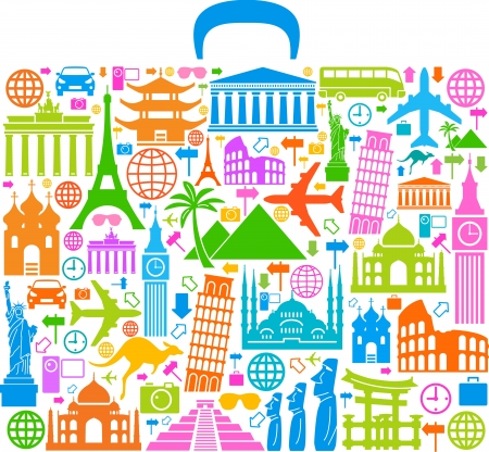 world travel: the concept of traveling around the world  Famous international landmarks Illustration