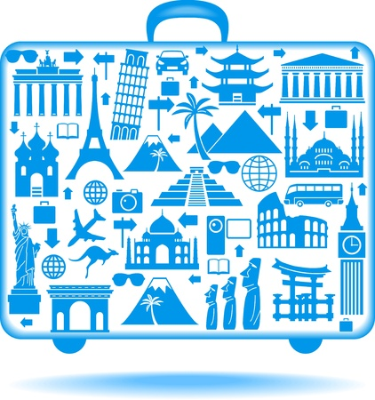 the concept of traveling around the world  Famous international landmarks  Vector
