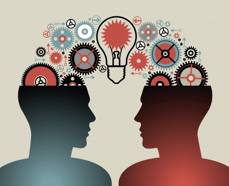 power of the brain: concetti di business il concetto di popolo di intelligence umana ha un'idea brain storming