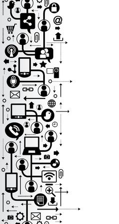 red informatica: vector de fondo con los iconos de internet de la red social, la comunicación en las redes informáticas mundiales