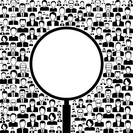 vector  background consists of many icons of modern humans. concept search Stock Vector - 18540590