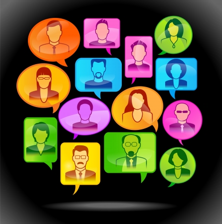 chat room: Vector illustration of the concept of peoples communication. File is saved in AI10 EPS version. This illustration contains a transparency             Illustration