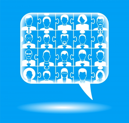 crowdsource: Puzzles with people form a Speech Bubble. concept communication between people, discussion and feedback