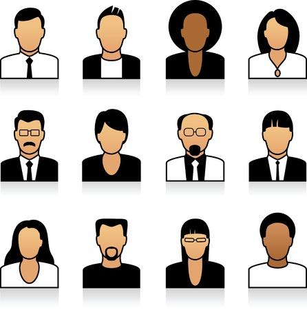 Un set di icone di persone di ufficio
